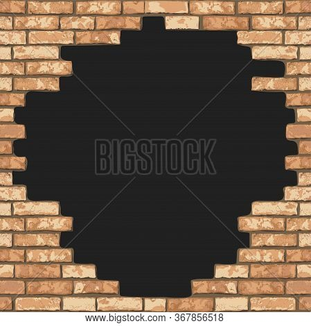 Vintage Realistic Broken Brick Wall Background. Black Hole In Flat Wall Texture. Yellow Textured Bri