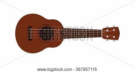 Ukulele Cute Isolated On White, Small Ukelele Dark Brown Color, Realistic Ukelele For Classical Musi