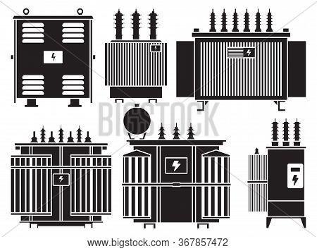 Transformer Vector Installation On White Background . Isolated Black Set Icon Energy Substation. Vec