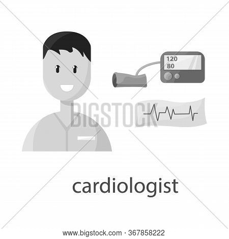Vector Illustration Of Cardiologist And Cardiovascular Sign. Collection Of Cardiologist And Cardiac