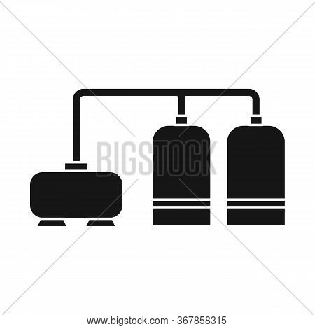 Vector Illustration Of Manufactory And Refinery Sign. Set Of Manufactory And Steel Stock Symbol For