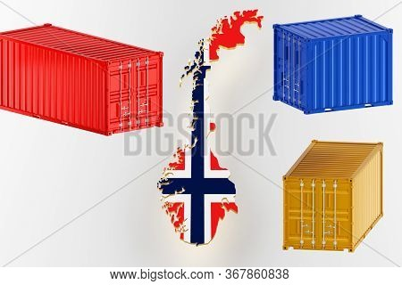 Norway Map Image With Flag. Freight Shipping In Containers. Export From The Country In Containers. 3