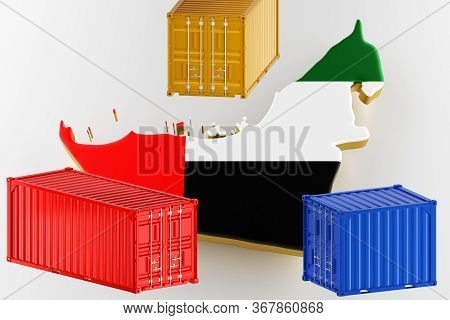 Uae Map Image With Flag. Freight Shipping In Containers. Export From The Country In Containers. 3d R