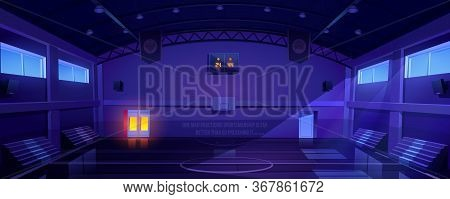 Basketball Court Interior At Night, Dark Sports Arena Or Hall For Team Games With Hoop, Scoreboard A