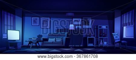 Living Room Interior In Boho Style With Glowing Tv Screen At Night. Vector Cartoon Illustration Of B