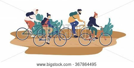 Group Of Smiling Young Friends Riding Bicycles Together Vector Flat Illustration. Colorful Man And W
