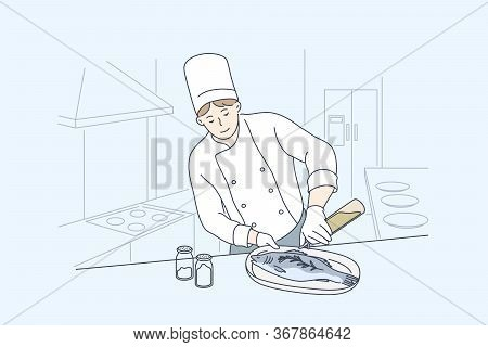 Sea, Cuisine, Cooking, Fish Concept. Young Man Or Boy Professional Cooker Chef Cartoon Character Pre