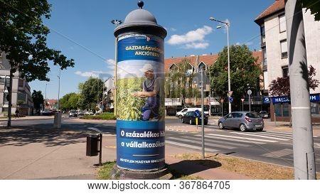Gyor Hungary 05 22 2020: Economic Protection Action Plan Poster On An Advertising Column.