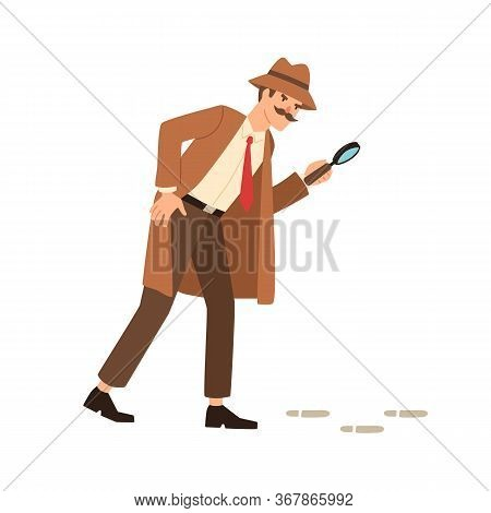 Private Detective Going On Trace Look Through Magnifying Glass Vector Flat Illustration. Inspector I