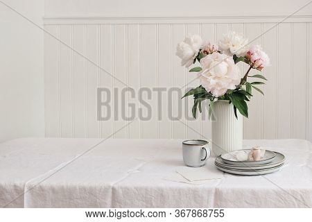 Styled Stock Photo. Feminine Wedding Or Birthday Table Composition With Floral Bouquet. Pink Peonies