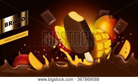 Chocolate Popsicle, Bar Pieces And Mango Slice Falling Into Liquid Crown Splash Realistic Vector Ill