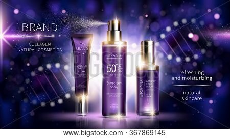 Collagen Cosmetics Vector Realistic Ads Poster. Smart Skin Care Cosmetic Product, Serum With Collage