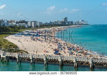 Miami, Fl, United States - April 28, 2019: View Of Miami Beach From A Cruise Ship In Miami, Florida,