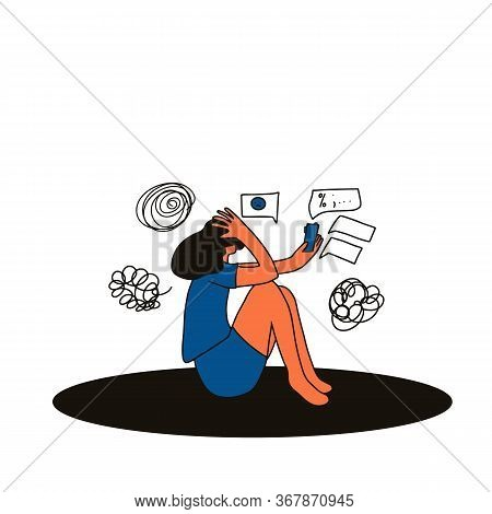 Digital Information Overload. Young Female Person Sitting On The Floor With Mobile Phone And Sufferi