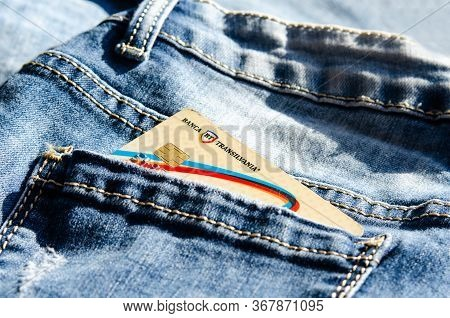 Romania -may 17,,2020 : Bt Banca Transilvania  Plastic Card In The Back Pocket Of Jeans . Concept Of