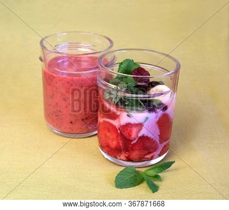 Non-alcohol Fruit Smoothie Cocktails With Strawberry And Blackberry In Yogurt With Mint Leaves In Th