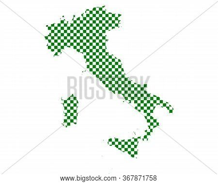 Detailed And Accurate Illustration Of Map Of Italy In Checkerboard Pattern