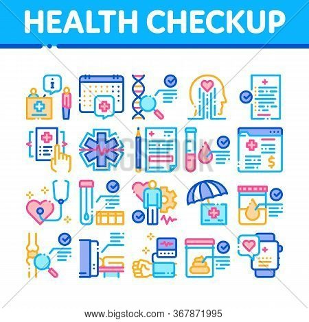 Health Checkup Medical Collection Icons Set Vector. Healthcare Checkup List And Calendar Date, Fitne