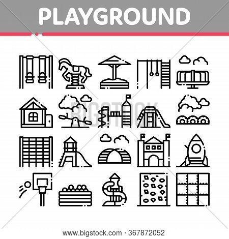 Playground Children Collection Icons Set Vector. Basketball And Climbing Wall, Seesaw And Swing In H
