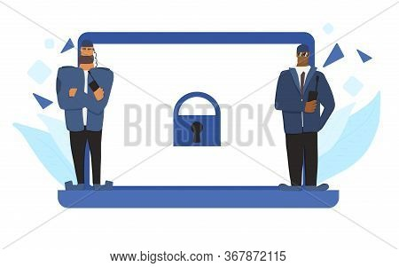 Personal Data Protection Concept. Security Guards Men Defending Confidential Information. Two Male C