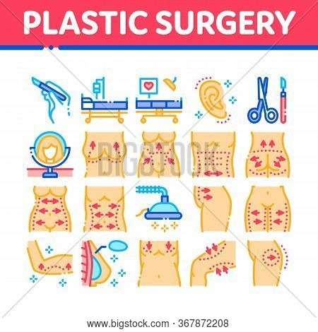 Plastic Surgery Clinic Collection Icons Set Vector. Scissors And Scalpel Doctor Instrument, Breast A