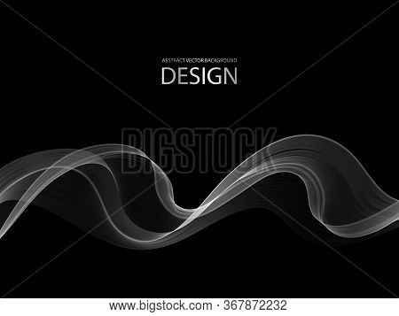 Smoky White Wave. Vector Abstract Background. Eps10