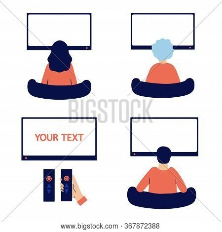 People Of Different Ages Stay At Home, Watch Tv. Young, Senior, Elderly Man, Woman. Watching News, M
