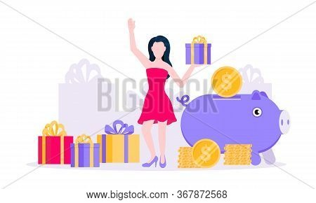 Earn Points Business Concept Flat Style Design Vector Illustration. Loyalty Reward Points For Purcha