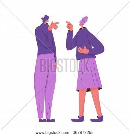 Family Conflict. Pair Of Young People During Argument. Quarrel Between Wife And Husband. Merried Cou
