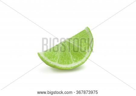 Fresh Sliced Organic Lime Or Thai Key Lime On White Isolated Background With Clipping Path. Lime Mak