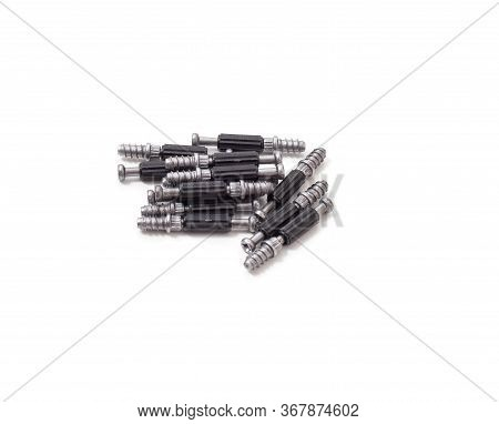 Eccentric Coupler For Furniture Assembly On A White Background, Close-up, Isolate