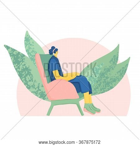 Meditation. Young Woman Sitting In Comfy Chair And Have A Relaxation. Female Person Wearing In Casua