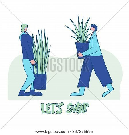 Lets Swap. Plant Lovers. Two Houseplants Owners Event. Young Persons Wearing In Casual Clothes Excha