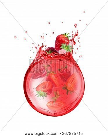 Slices Strawberries Are Sinking In Splashes Of Juice, Isolated On White Background