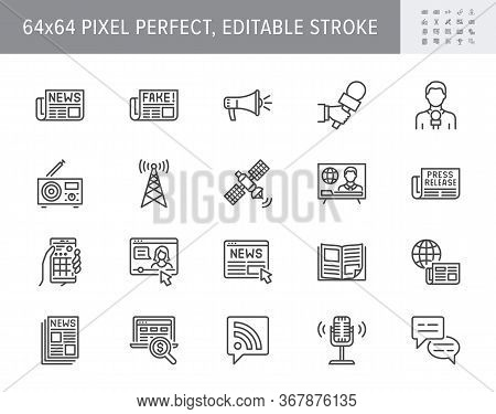News Line Icons. Vector Illustration Included Icon As Newspaper, Mass Media, Journalist, Fake, Telev
