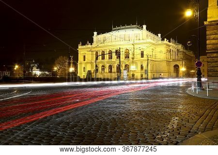 The Building Of Rudolfiunum Concert Halls On Jan Palach Square In Prague, Czech Republic (night View