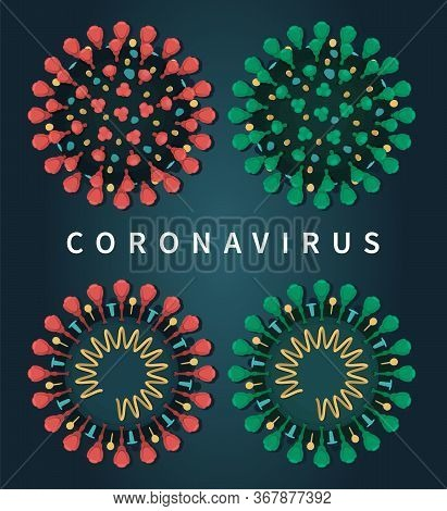 Coronavirus Isolated Set With Colors Red And Green On Dark Blue Background. Close-up Flat Vector Ill