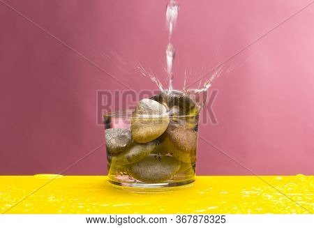 Mineral Water In A Clear Glass Cup