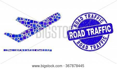 Geometric Airplane Takeoff Mosaic Icon And Road Traffic Watermark. Blue Vector Round Grunge Stamp Wi