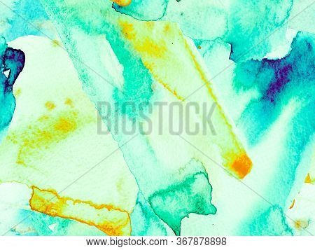 Watercolor Seamless Pattern. Abstract Texture Background. Green And Aqua Menthe Psychedelic Paper. G