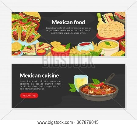 Mexican Cuisine Landing Page Template, Traditional Tasty Dishes And Space For Text, Ordering Online