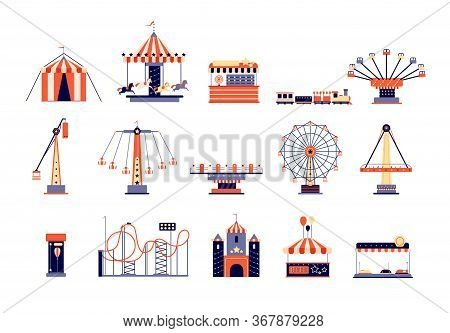 Amusement Park. Fun Recreation Playground, Amusements And Carousels. Children Attractions, Rollercoa