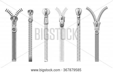 Silver Zippers. Isolated Realistic Metal Pull. Cloth Fasteners, Accessories For Jeans, Bags, Coats A