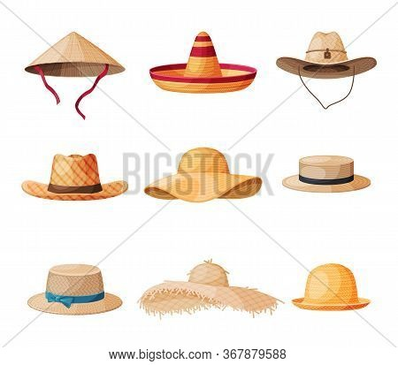 Summer Hats Collection, Straw Headdress For Men And Women, Vintage Elegant Headwears Vector Illustra