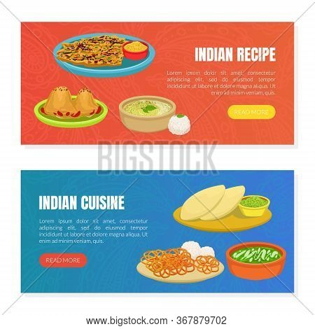 Indian Cuisine And Recipes Landing Page Templates Set, Traditional Asian Tasty Dishes, Ordering Onli