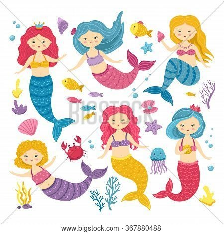 Cartoon Mermaids. Cute Princess Clipart, Mermaid And Ocean Animal. Kawaii Fairyland Stickers For Scr