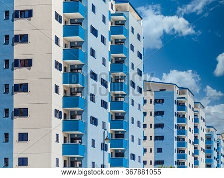 Blue And White Condo Towers In Gibraltar
