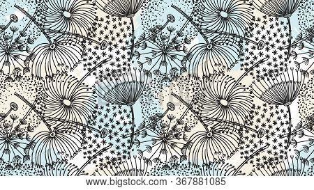 Dandelion Pattern. Hand Drawn Flowers, Brush Elements Background. Forest Summer Spring Season Sketch