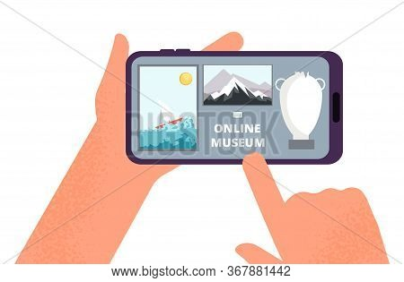 Online Museum. Hands Holding Smartphone With Tour Of Exhibition Of Paintings On Internet. Free Art G