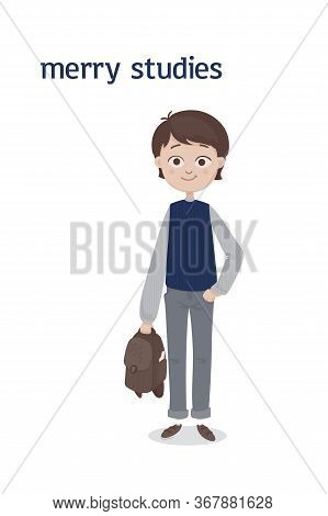 A Cute Standing School Boy With A Brown Hair And A Schoolbag In His Hand In A Gray Jeans And Blue Wa